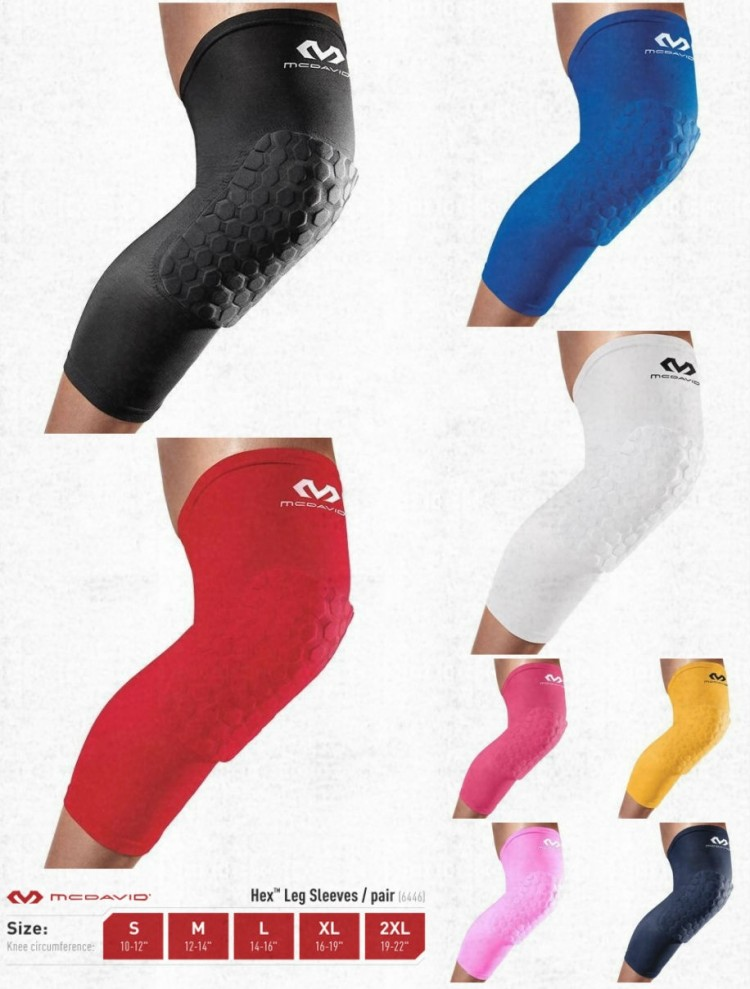 MCDAVID Compression Leg Sleeves with Hex™ Protective Pads one pair 6446