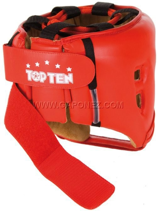​Top Ten Boxing Head Guard Leather AIBA Red Colour 4069-4