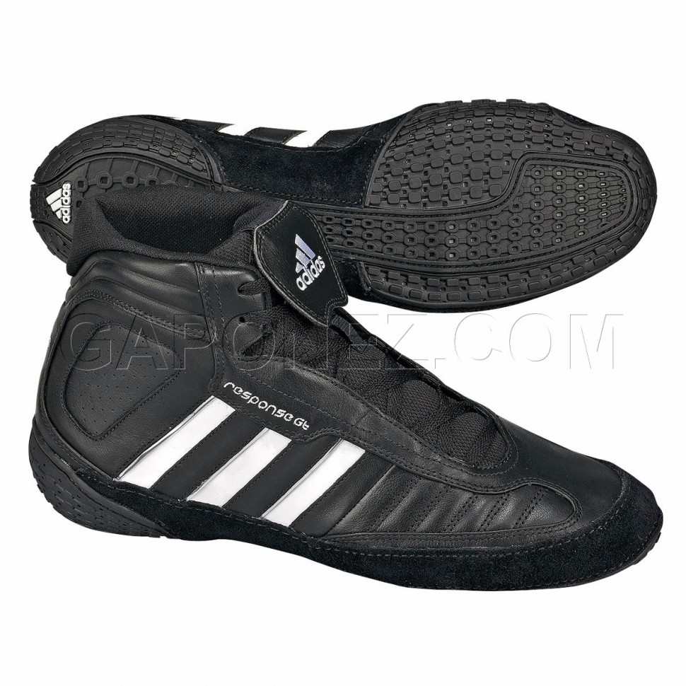 black and white adidas wrestling shoes